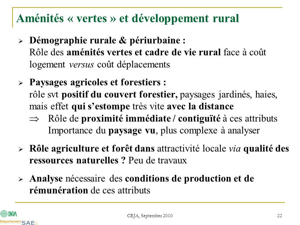 CEJA, September 2010 22 Aménités « vertes » et développement rural  Démographie rurale & périurbaine : Rôle des aménités vertes et cadre de vie rural