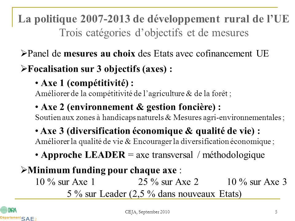 CEJA, September 2010 5  Panel de mesures au choix des Etats avec cofinancement UE  Focalisation sur 3 objectifs (axes) : Axe 1 (compétitivité) : Amé