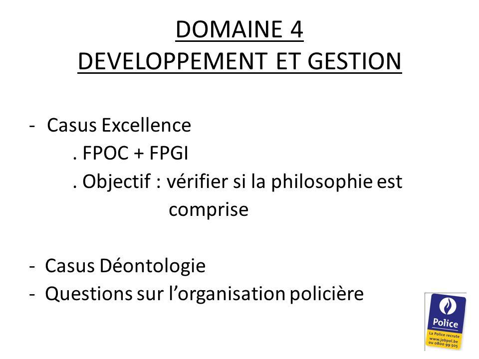DOMAINE 4 DEVELOPPEMENT ET GESTION -Casus Excellence.
