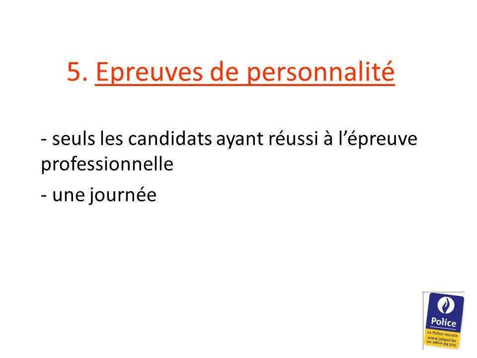 Contenu - Inventaire informatisé de personnalité - E-tray (cf Selor – bac à courrier) - 2 épreuves comportementales (1 individuelle et 1 collective) - entretien de personnalité - questionnaire biographique