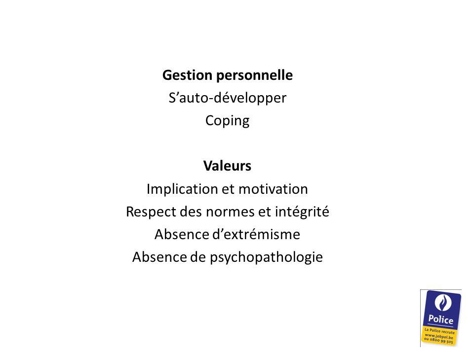 Gestion personnelle S'auto-développer Coping Valeurs Implication et motivation Respect des normes et intégrité Absence d'extrémisme Absence de psychopathologie