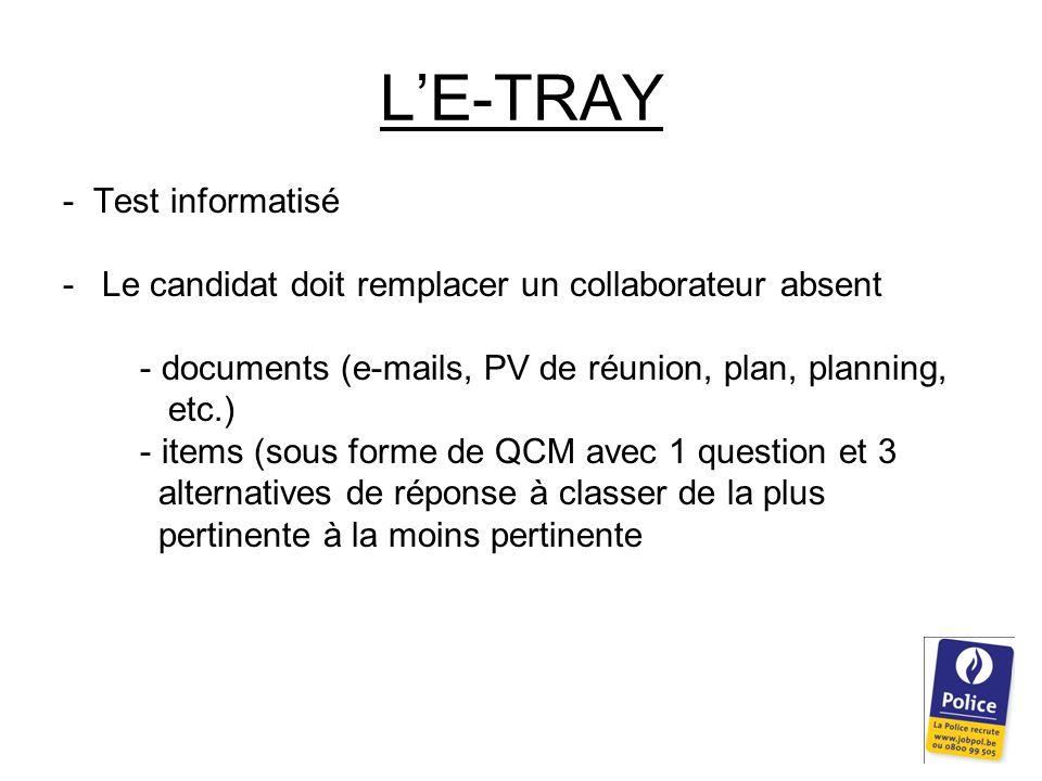L'E-TRAY - Test informatisé -Le candidat doit remplacer un collaborateur absent - documents (e-mails, PV de réunion, plan, planning, etc.) - items (sous forme de QCM avec 1 question et 3 alternatives de réponse à classer de la plus pertinente à la moins pertinente