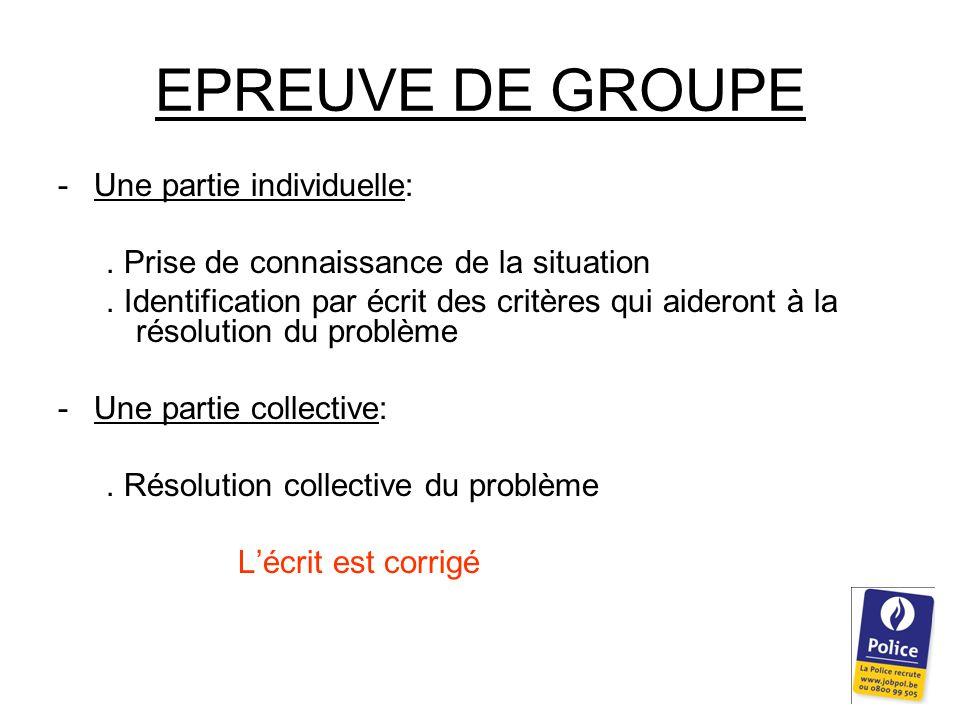 EPREUVE DE GROUPE -Une partie individuelle:. Prise de connaissance de la situation.