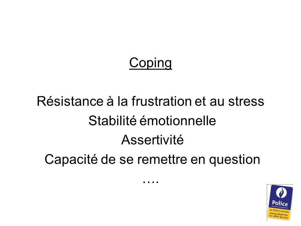 Coping Résistance à la frustration et au stress Stabilité émotionnelle Assertivité Capacité de se remettre en question ….