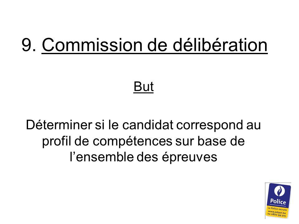 9. Commission de délibération But Déterminer si le candidat correspond au profil de compétences sur base de l'ensemble des épreuves