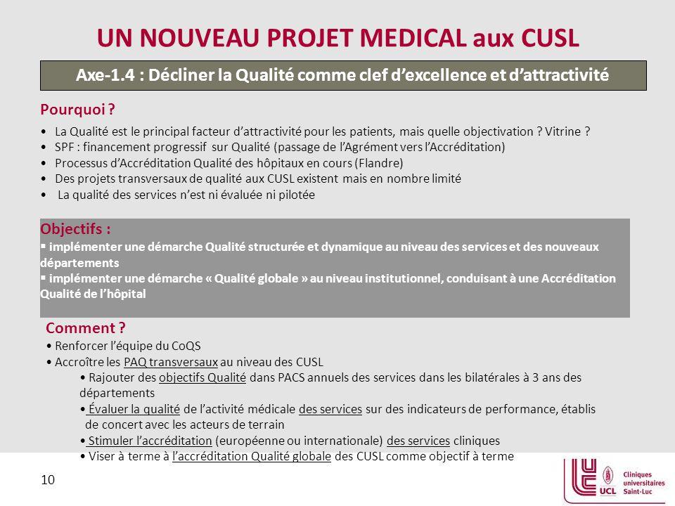 10 UN NOUVEAU PROJET MEDICAL aux CUSL Pourquoi .
