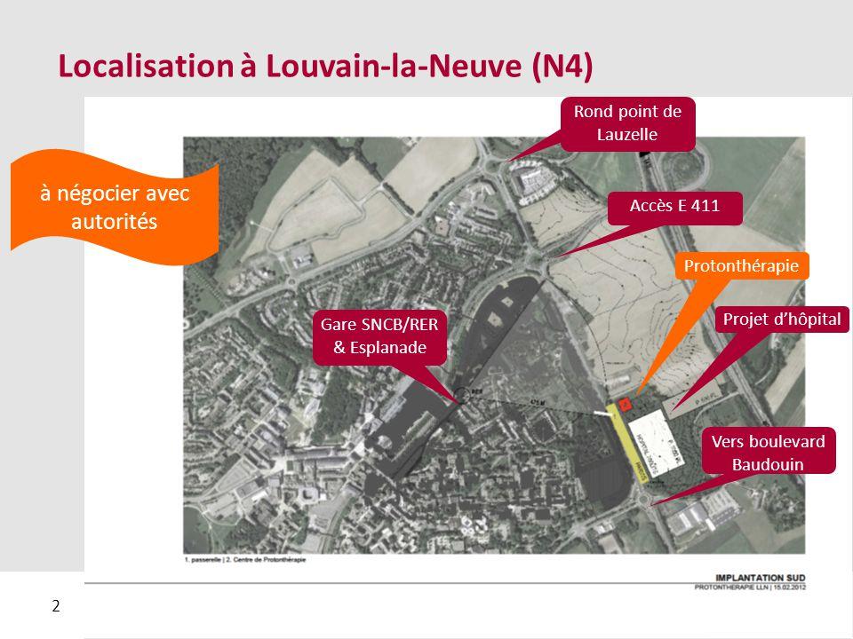 2 Localisation à Louvain-la-Neuve (N4) Rond point de Lauzelle Accès E 411 Vers boulevard Baudouin Projet d'hôpital Protonthérapie Gare SNCB/RER & Esplanade à négocier avec autorités