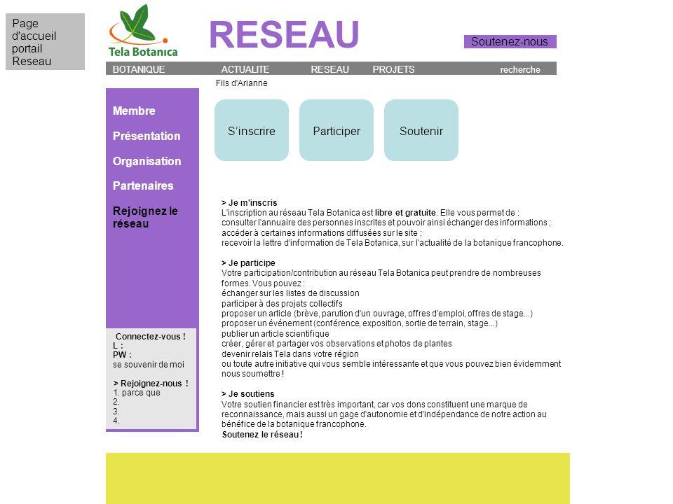 Membre Présentation Organisation Partenaires Rejoignez le réseau BOTANIQUE ACTUALITE RESEAU PROJETS recherche RESEAU Page d'accueil portail Reseau Sou