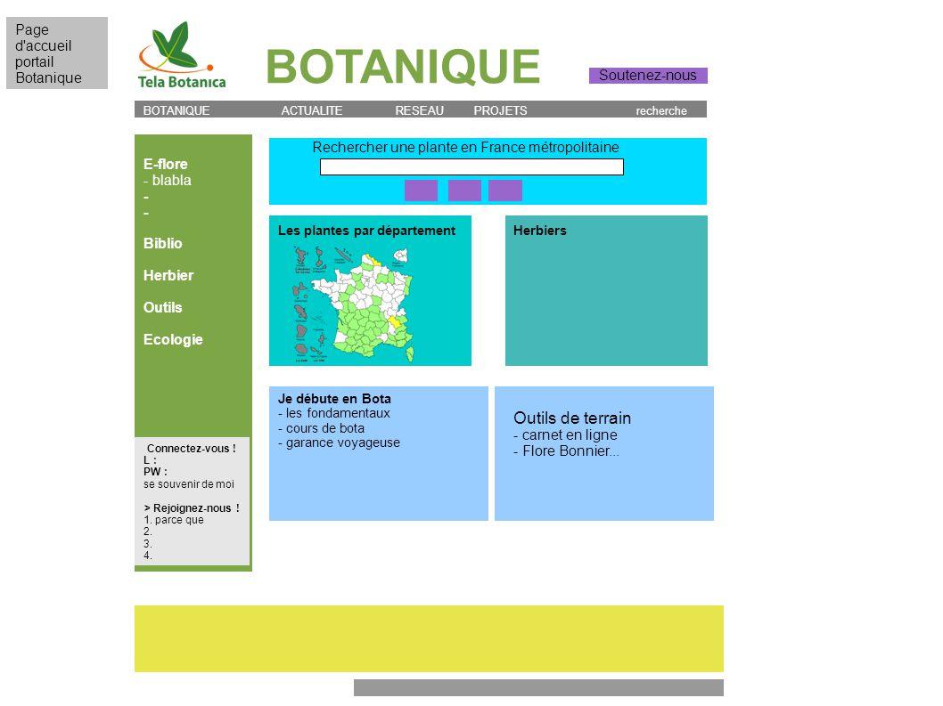 BOTANIQUE E-flore - blabla - Biblio Herbier Outils Ecologie BOTANIQUE ACTUALITE RESEAU PROJETS recherche Rechercher une plante en France métropolitain