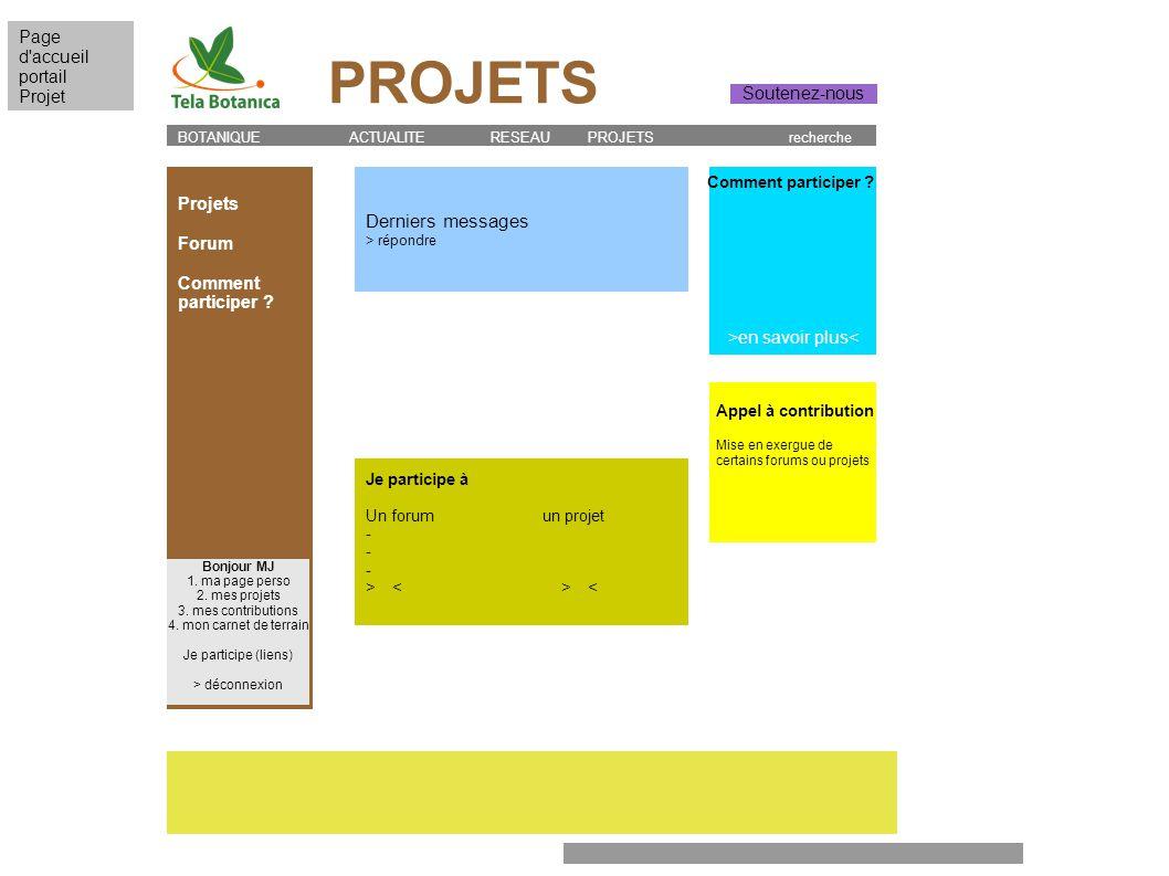 Je participe à Un forum un projet - > < Projets Forum Comment participer ? BOTANIQUE ACTUALITE RESEAU PROJETS recherche Comment participer ? Appel à c