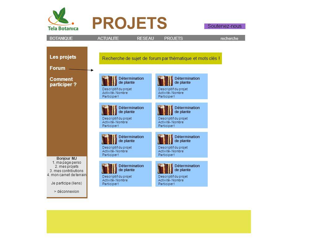 Recherche de sujet de forum par thématique et mots clés ! Les projets Forum Comment participer ? BOTANIQUE ACTUALITE RESEAU PROJETS recherche Bonjour