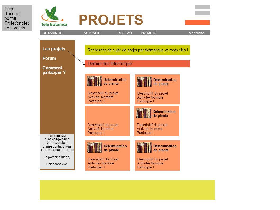 Recherche de sujet de projet par thématique et mots clés ! Les projets Forum Comment participer ? BOTANIQUE ACTUALITE RESEAU PROJETS recherche Bonjour