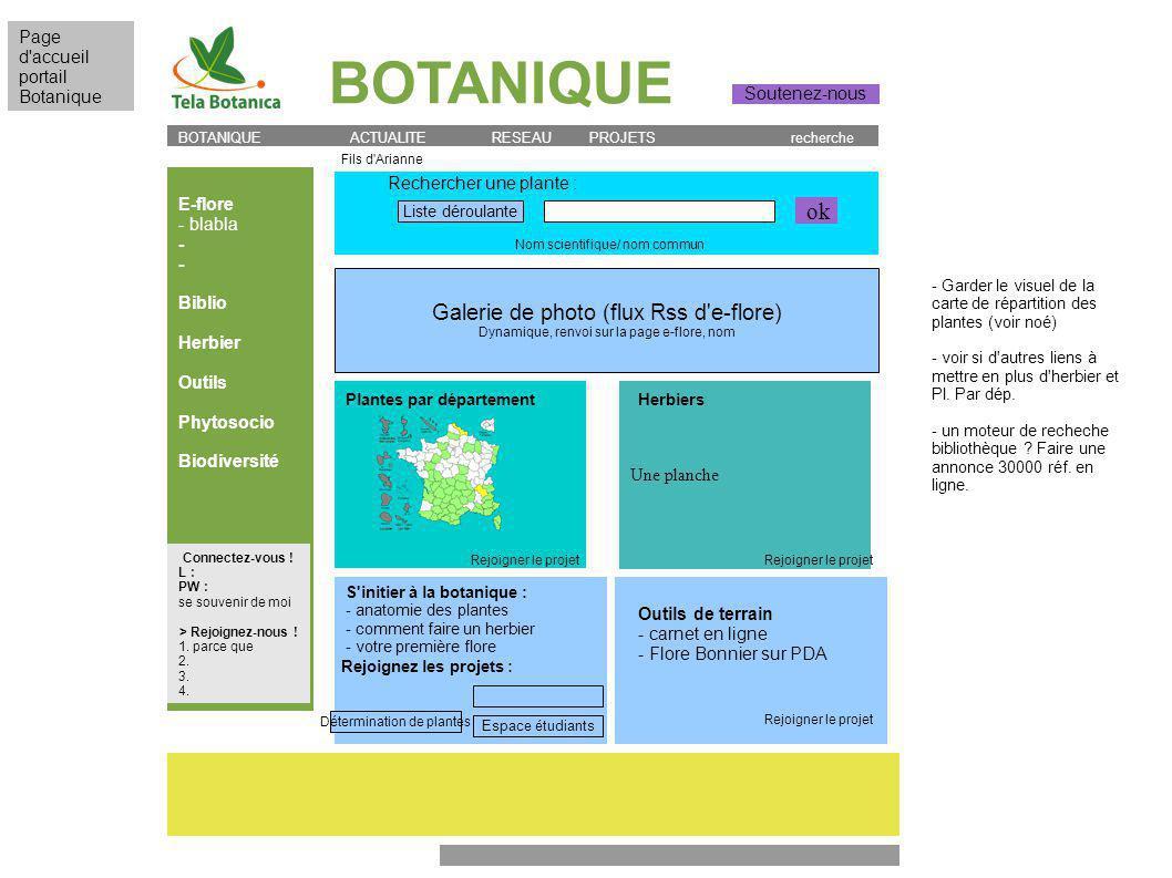 BOTANIQUE E-flore - blabla - Biblio Herbier Outils Phytosocio Biodiversité BOTANIQUE ACTUALITE RESEAU PROJETS recherche Rechercher une plante : Plantes par département Une planche Herbiers S initier à la botanique : - anatomie des plantes - comment faire un herbier - votre première flore Page d accueil portail Botanique Outils de terrain - carnet en ligne - Flore Bonnier sur PDA Connectez-vous .