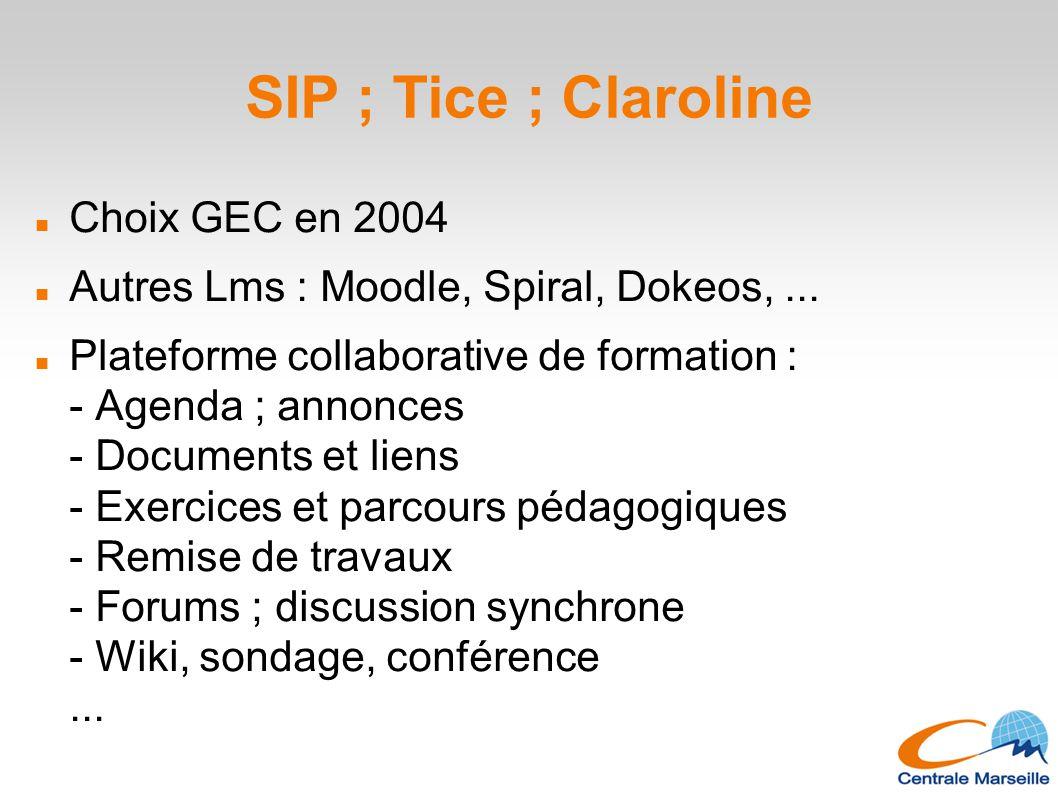 SIP ; Tice ; Claroline Choix GEC en 2004 Autres Lms : Moodle, Spiral, Dokeos,... Plateforme collaborative de formation : - Agenda ; annonces - Documen