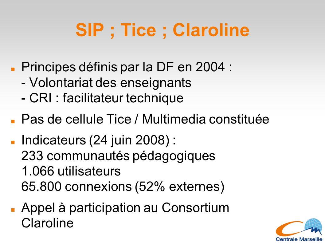 SIP ; Tice ; Claroline Principes définis par la DF en 2004 : - Volontariat des enseignants - CRI : facilitateur technique Pas de cellule Tice / Multim