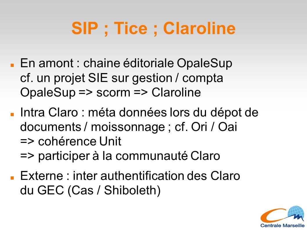 SIP ; Tice ; Claroline En amont : chaine éditoriale OpaleSup cf. un projet SIE sur gestion / compta OpaleSup => scorm => Claroline Intra Claro : méta