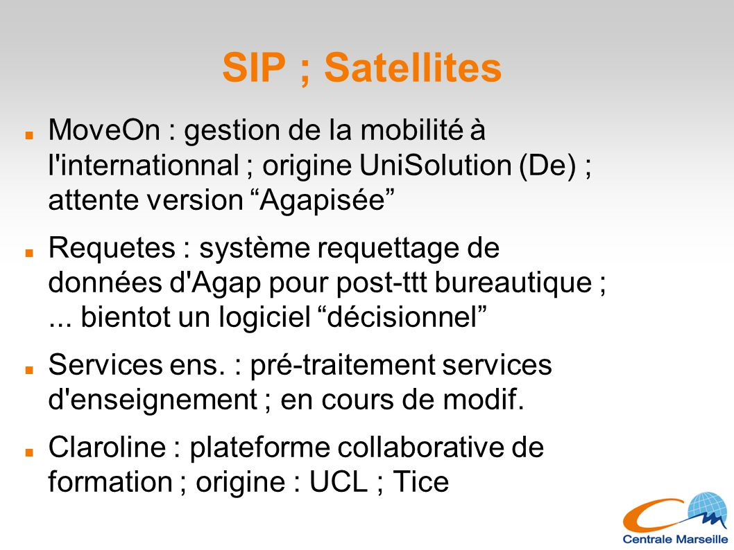 "SIP ; Satellites MoveOn : gestion de la mobilité à l'internationnal ; origine UniSolution (De) ; attente version ""Agapisée"" Requetes : système requett"