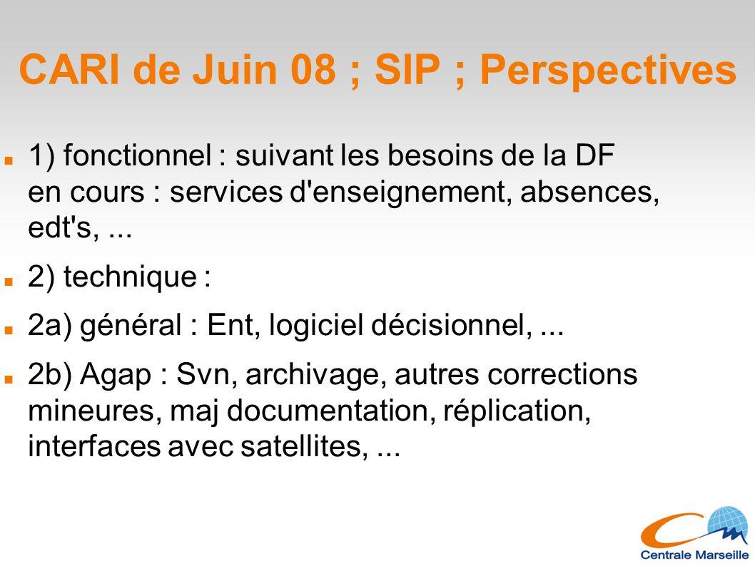 CARI de Juin 08 ; SIP ; Perspectives 1) fonctionnel : suivant les besoins de la DF en cours : services d enseignement, absences, edt s,...