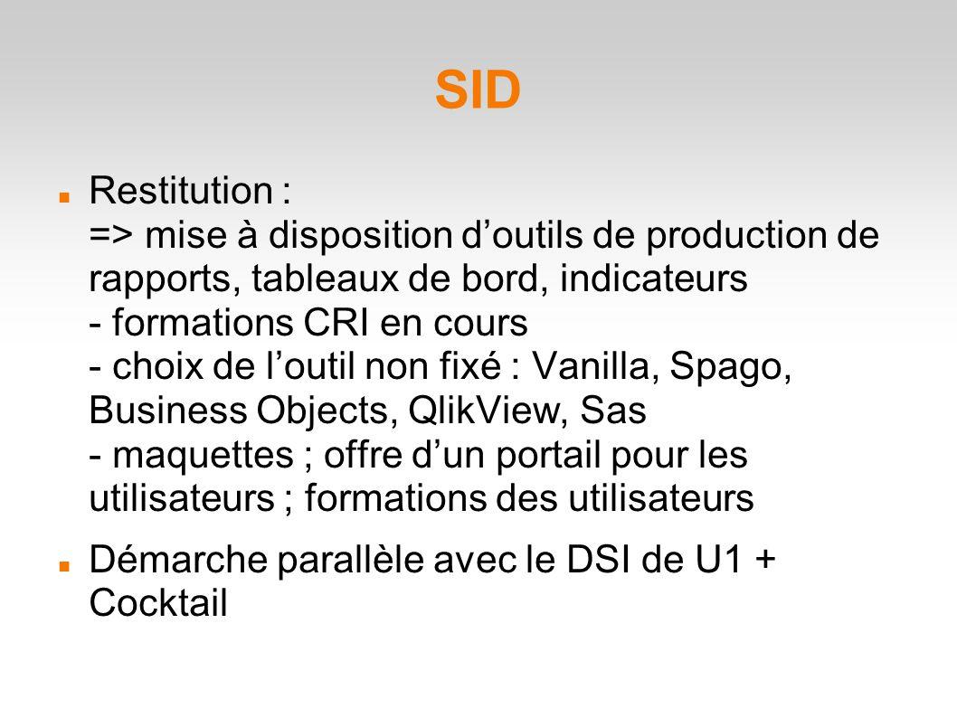 SID Restitution : => mise à disposition d'outils de production de rapports, tableaux de bord, indicateurs - formations CRI en cours - choix de l'outil non fixé : Vanilla, Spago, Business Objects, QlikView, Sas - maquettes ; offre d'un portail pour les utilisateurs ; formations des utilisateurs Démarche parallèle avec le DSI de U1 + Cocktail