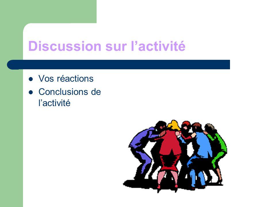 Discussion sur l'activité Vos réactions Conclusions de l'activité