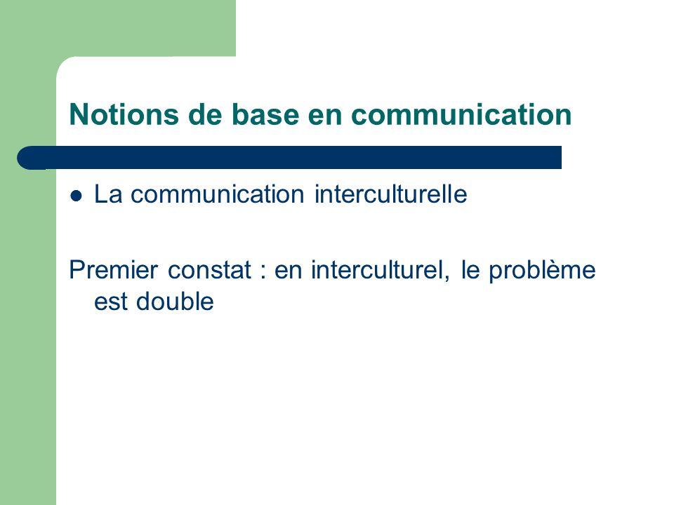 Notions de base en communication La communication interculturelle Premier constat : en interculturel, le problème est double
