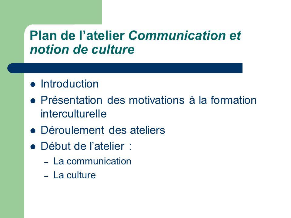 """Pr�sentation """"Atelier sur la communication interculturelle ..."""