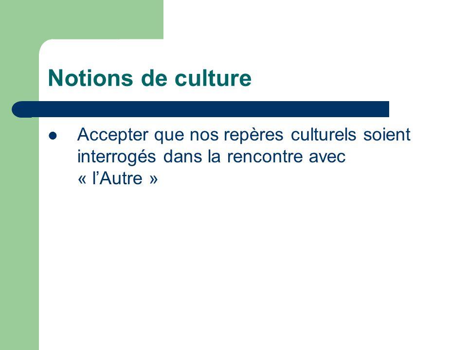 Notions de culture Accepter que nos repères culturels soient interrogés dans la rencontre avec « l'Autre »