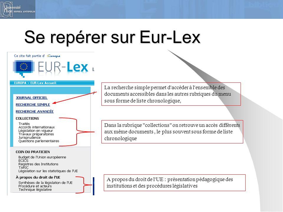 Se repérer sur Eur-Lex La recherche simple permet d'accéder à l'ensemble des documents accessibles dans les autres rubriques du menu sous forme de lis