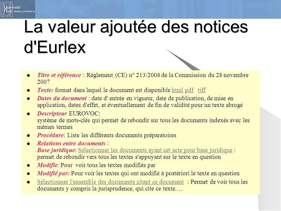 La valeur ajoutée des notices d'Eurlex Titre et référence : Règlement (CE) n° 213/2008 de la Commission du 28 novembre 2007 Texte: format dans lequel