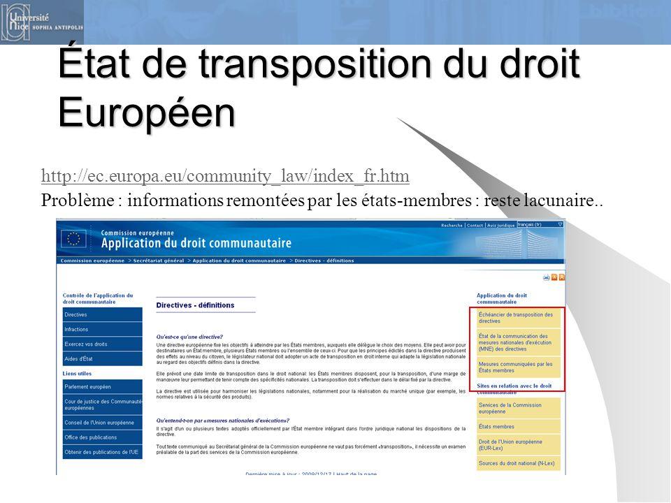 État de transposition du droit Européen http://ec.europa.eu/community_law/index_fr.htm Problème : informations remontées par les états-membres : reste