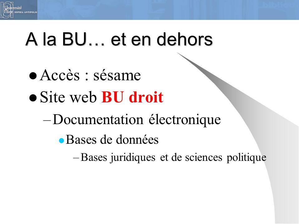 A la BU… et en dehors Accès : sésame Site web BU droit –Documentation électronique Bases de données –Bases juridiques et de sciences politique