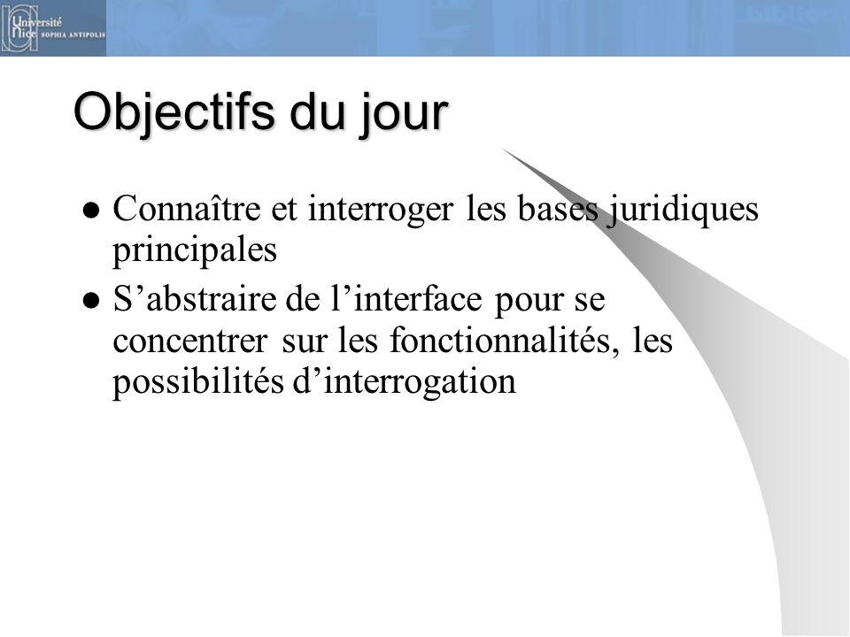 Objectifs du jour Connaître et interroger les bases juridiques principales S'abstraire de l'interface pour se concentrer sur les fonctionnalités, les