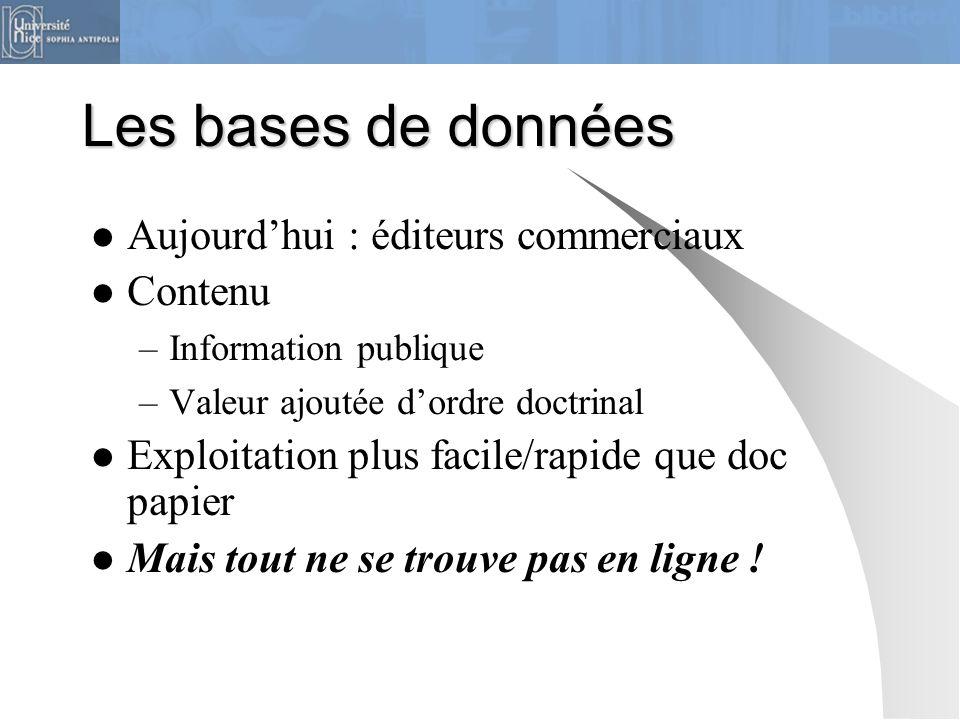 Les bases de données Aujourd'hui : éditeurs commerciaux Contenu –Information publique –Valeur ajoutée d'ordre doctrinal Exploitation plus facile/rapid