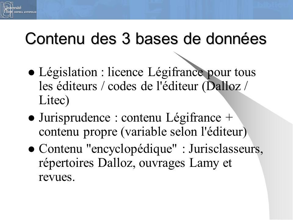 Contenu des 3 bases de données Législation : licence Légifrance pour tous les éditeurs / codes de l'éditeur (Dalloz / Litec) Jurisprudence : contenu L