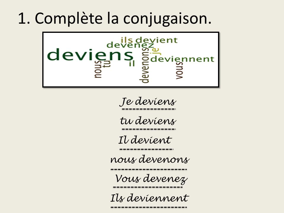 1. Complète la conjugaison.