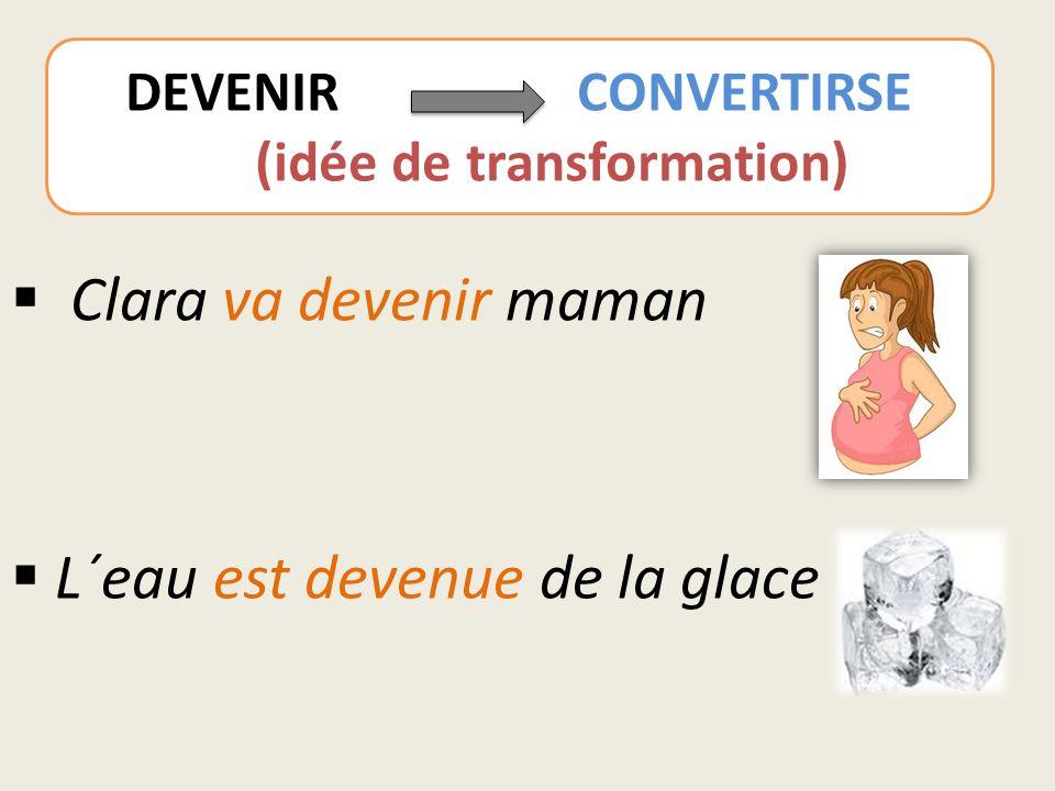  Clara va devenir maman  L´eau est devenue de la glace DEVENIR CONVERTIRSE (idée de transformation)