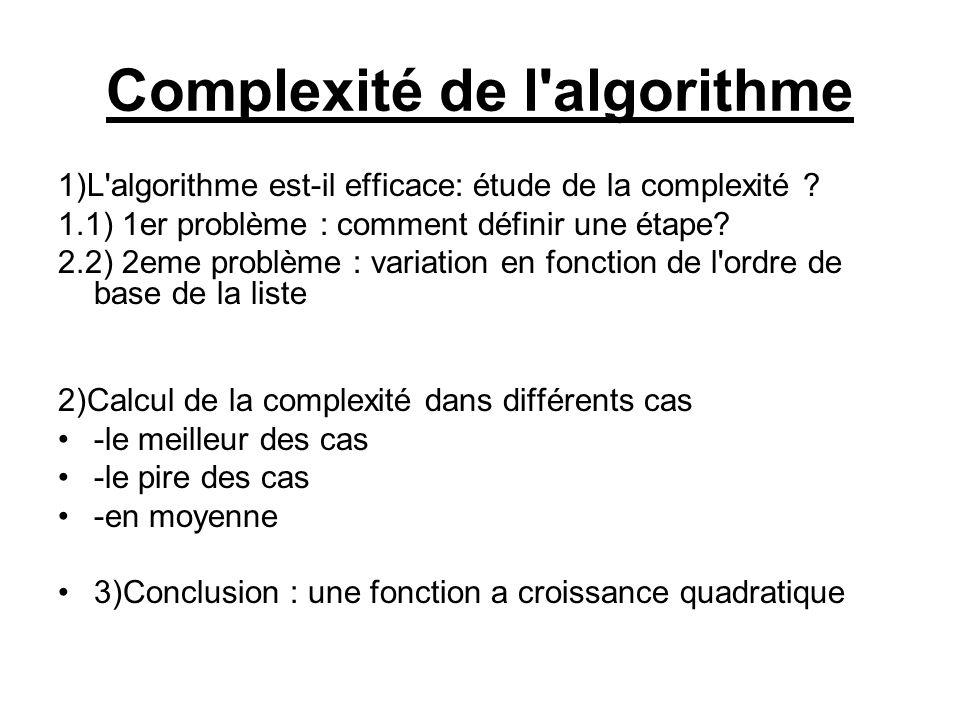 Complexité de l'algorithme 1)L'algorithme est-il efficace: étude de la complexité ? 1.1) 1er problème : comment définir une étape? 2.2) 2eme problème