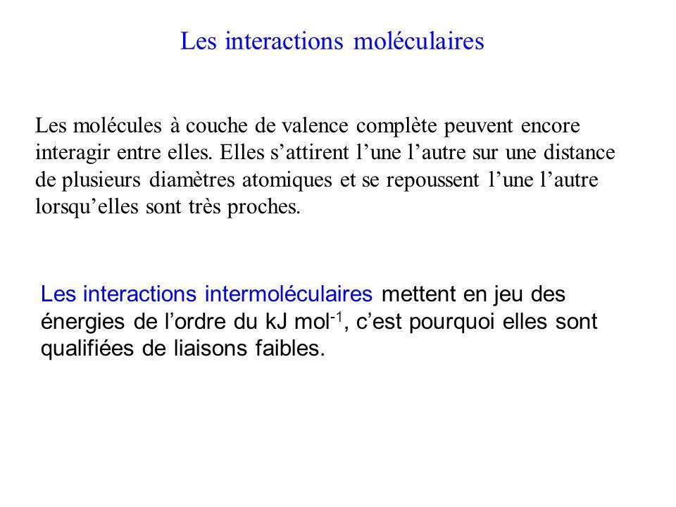 Les interactions moléculaires Les interactions intermoléculaires mettent en jeu des énergies de l'ordre du kJ mol -1, c'est pourquoi elles sont qualifiées de liaisons faibles.