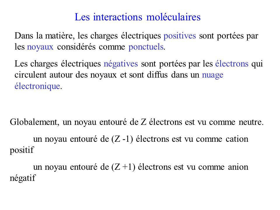 Importance relative des trois interactions V K (kJ mol -1 ) V D (kJ mol -1 )V L (kJ mol -1 ) CO 0,00042 0,008 8,73 HCl 3,3 1 16,8 NH 3 13,3 1,46 14,7 H 2 O 36,3 1,92 9 Energie potentielle d'interaction de van der Waals: Interaction de Keesom est variable Interaction de Debye négligeable Interaction de London est toujours importante