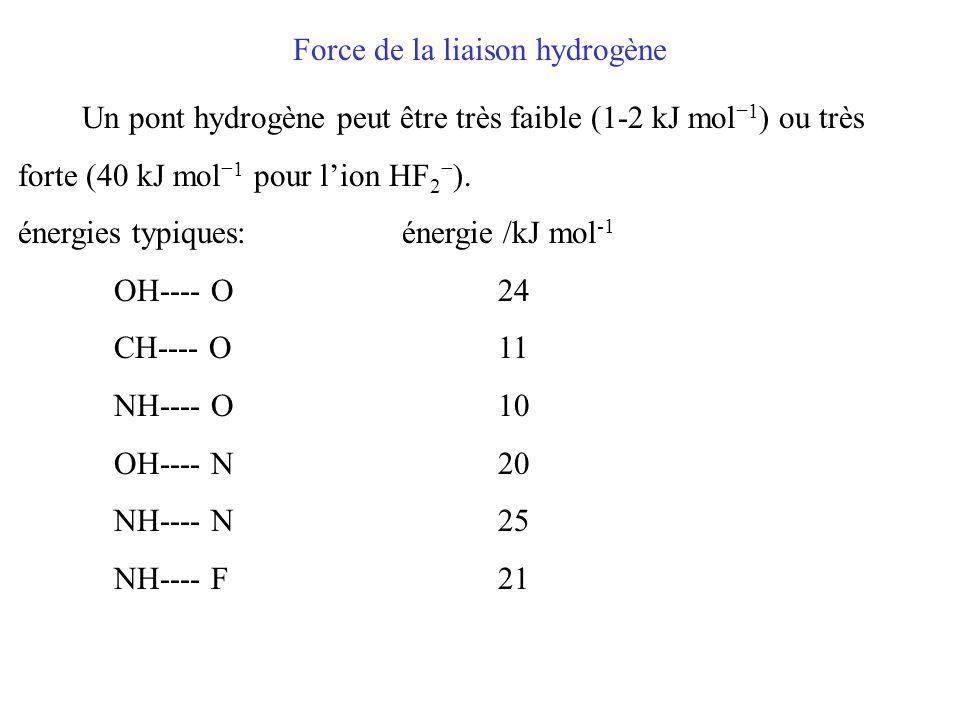 Force de la liaison hydrogène Un pont hydrogène peut être très faible (1-2 kJ mol −1 ) ou très forte (40 kJ mol −1 pour l'ion HF 2 − ).