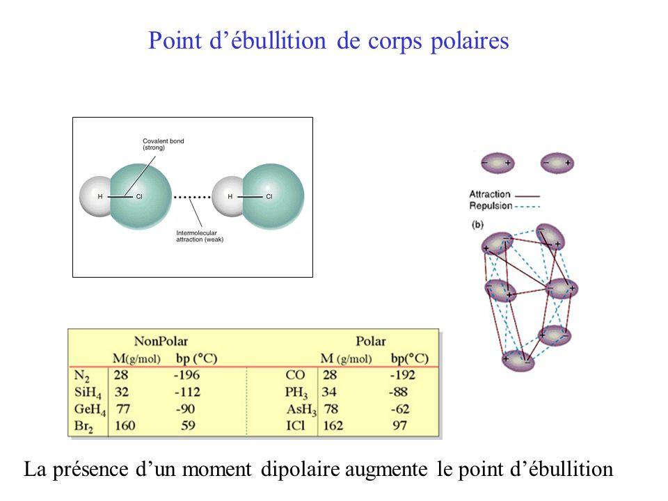 Point d'ébullition de corps polaires La présence d'un moment dipolaire augmente le point d'ébullition