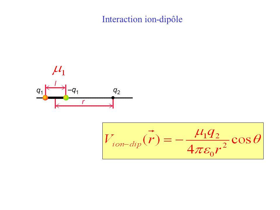 L'interaction ion - dipôle L'interaction ion – dipôle oriente le dipôle dans la direction du champ électrique créé par la charge électrique ponctuelle L'énergie d'interaction diminue en 1/r 2 + + δ - δ + E