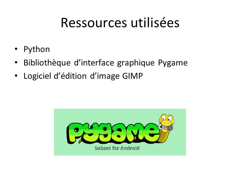 Ressources utilisées Python Bibliothèque d'interface graphique Pygame Logiciel d'édition d'image GIMP