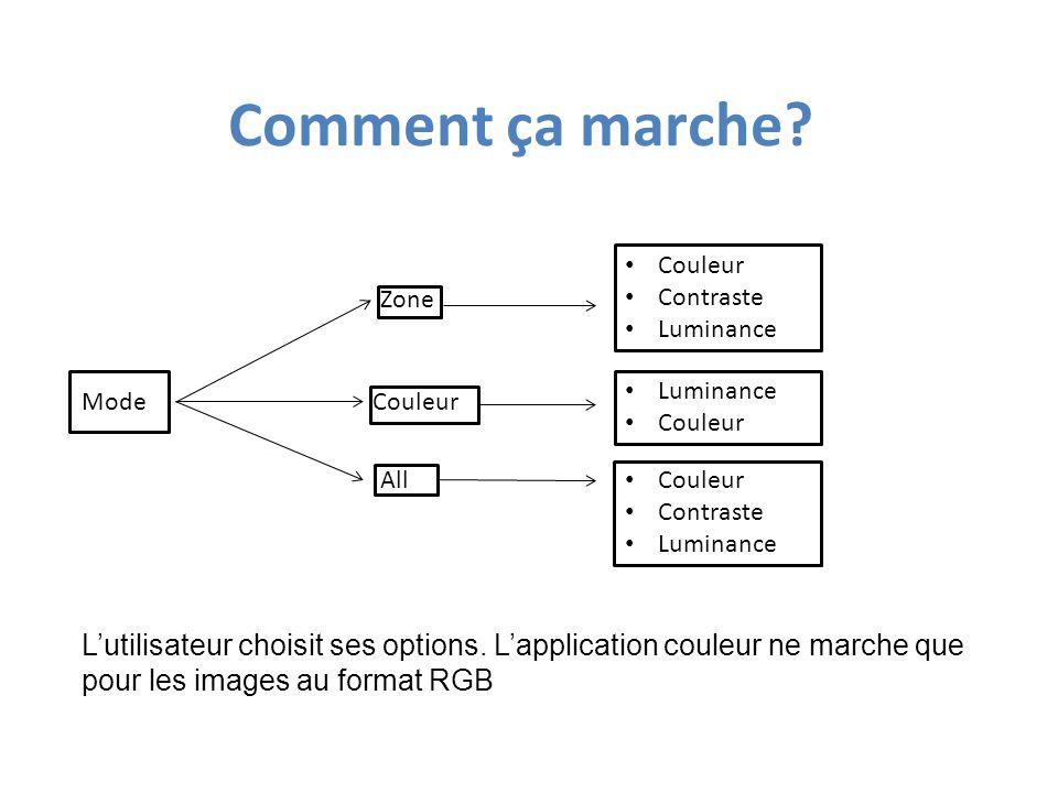 MODE « ALL » Le programme applique les modifications sur toute l'image if image.mode== L : pix[i,j]=pix[i,j]+value if image.mode== RGB : pix[i,j]=(pix[i,j][0]+value,pix[i,j][1]+value,pix[i,j][2]+value)