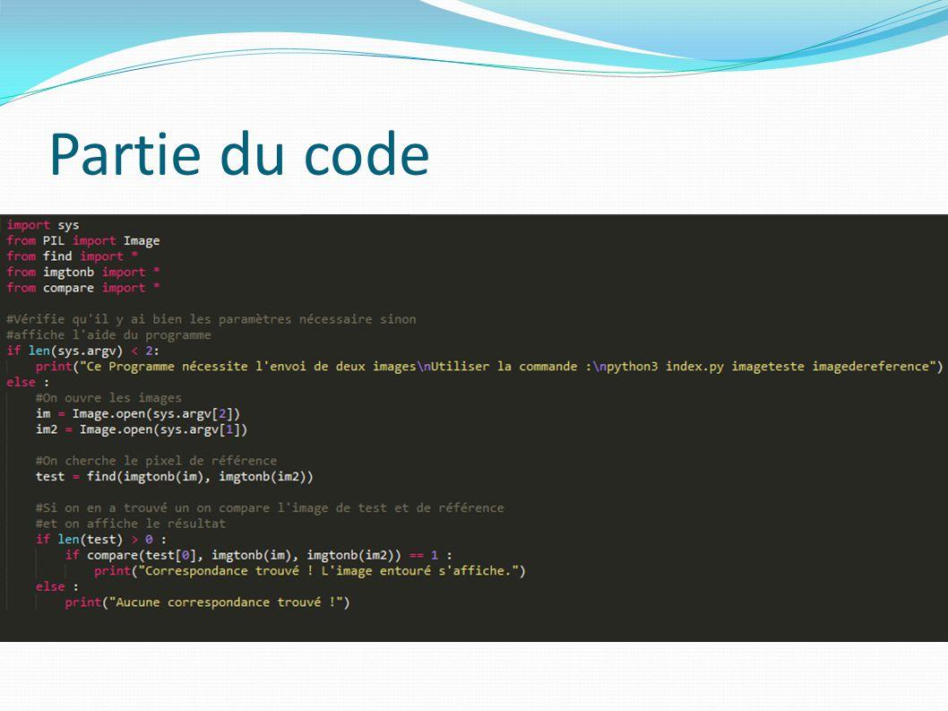 Partie du code