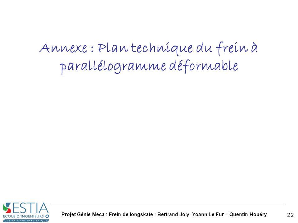 Projet Génie Méca : Frein de longskate : Bertrand Joly -Yoann Le Fur – Quentin Houéry 23