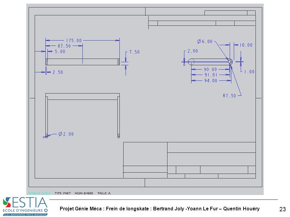 Projet Génie Méca : Frein de longskate : Bertrand Joly -Yoann Le Fur – Quentin Houéry 24