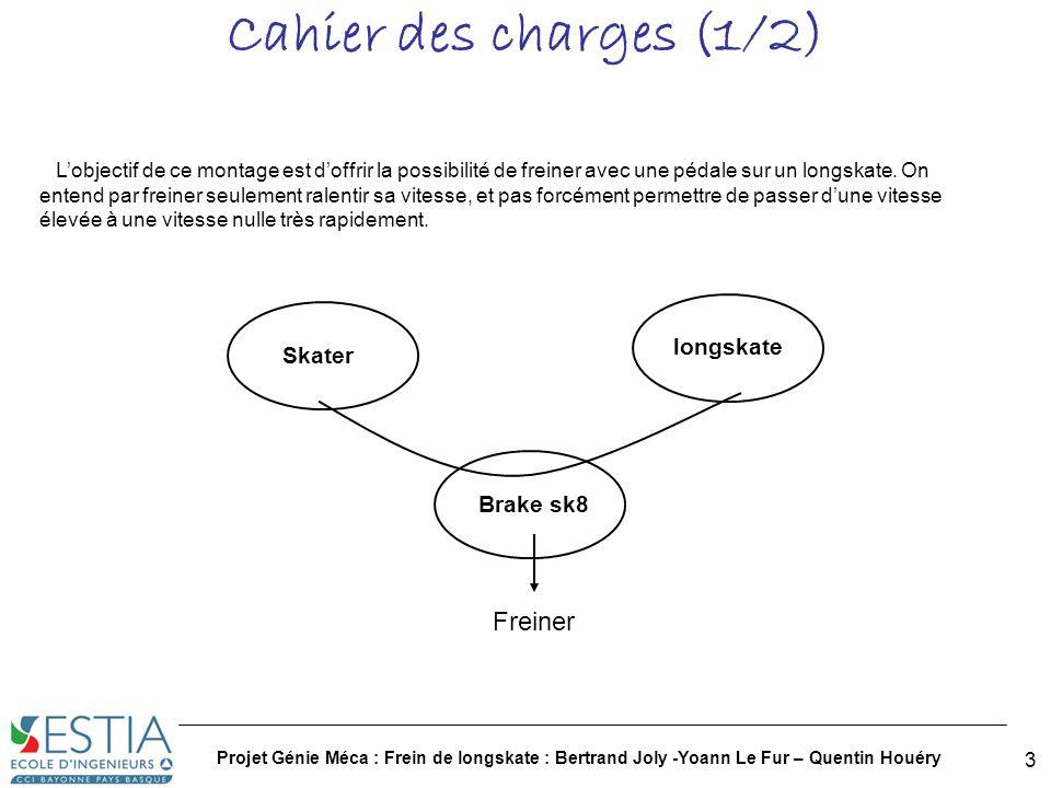 Projet Génie Méca : Frein de longskate : Bertrand Joly -Yoann Le Fur – Quentin Houéry 4 Cahier des charges (2/2) Cahier des charges : 1.