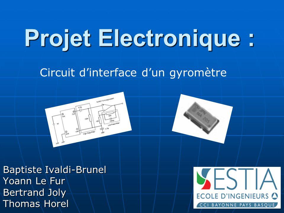 Projet Electronique 2006 2 Objectif du projet Concevoir un circuit générant une tension analogique proportionnelle à une vitesse de rotation.