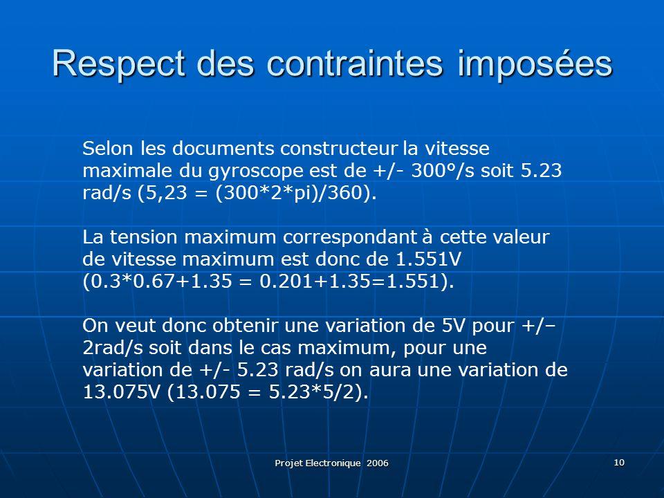 Projet Electronique 2006 10 Respect des contraintes imposées Selon les documents constructeur la vitesse maximale du gyroscope est de +/- 300°/s soit 5.23 rad/s (5,23 = (300*2*pi)/360).